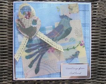 Greetings from Scotland card. Birds of Scotland. Tweed patterns. Made in Scotland. Tweed Grouse. Tweed pheasant. Tartan and tweed theme.