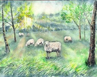 Spring on the meadow   Original watercolor painting   Sheep on the meadow   watercolour landscape   Hanna Stawska