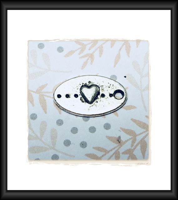 Silver Oval Heart Charm 15 x 10 mm - per charm