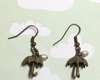 Spring Rain Antique Brass Earrings, Fresh Water Pearl Earrings, Umbrella Earrings, Rain Earrings, Rain Lover Earrings,  Christmas Gift
