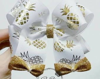 Pineapple bow, pineapple hair bow, gold pineapple bow, glitter pineapple bow, pineapples, boutique bow, pineapple boutique bow, BowPosh