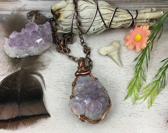 Amethyst Crystal Cluster Pendant // Wire Wrapped Pendant // 20 Inch Chain Included // Gift Boxed // Item No 7