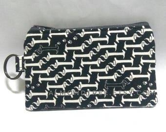 dachshund dog keyring zip coin purse, credit card women portefeuille, change wallet, porte monnaie , padded gadget bag