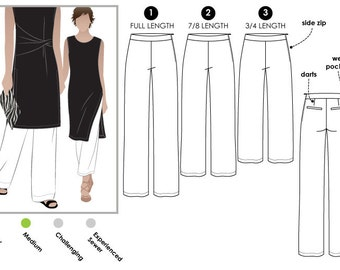 Natasha Woven Pant // Sizes 16, 18 & 20 // PDF Women's Sewing Pattern for Printing at Home