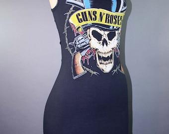 Guns N Roses Skull Lace Tshirt Dress Metal Rocker Biker Axl Rose Slash 80s Hair Metal Band Merch