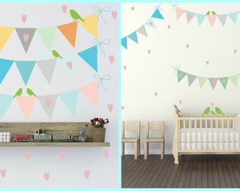 FREE SHIPPING Wall Decal Flags Chain With Pink Hearts & Birds. Nursery Wall Decal. Home Decor.Kids Wall Decal. Diy Wall Decal. Wall Art.