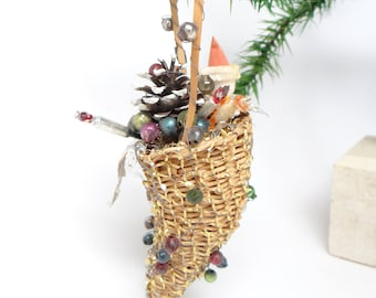 Antique Cornucopia Candy Container, Santa in Christmas Basket, Tinsel Ornament, Mercury Glass