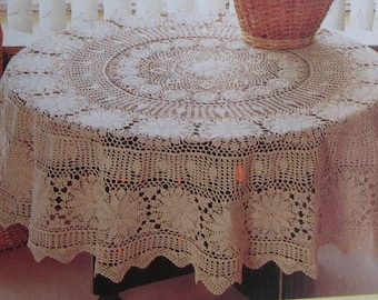 Tablecloth handmade crochet circle diameter 150 cm(59inches) milky white color