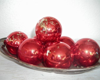 bright red Christmas ornaments - vintage glass balls with naturally distressed patina - shabby cottage chic - ornate hollywood regency set 7