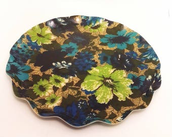 Round Floral Serving Tray | Serving tray, vintage serving tray, vintage barware, Designer Fabric, Retro Tray, Gift for Her, Gift for Women