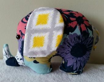 Elephant softie, cotton prints, floral print, nursery decor, soft toys, Australian handmade