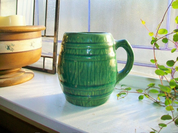 Green Stoneware Mug Vintage McCoy Green Barrel Mug