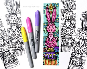 Easter Bunny bookmark coloring bookmark