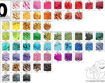 YKK Zippers 10 Inch (5) Pieces Your Choice Mix and Match- Choose from 65 light, bright, dark, and neutral vibrant colors