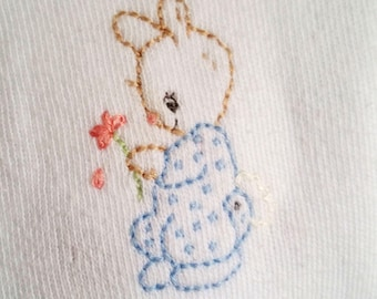 READY to SHIP - Hand Embroidered Julius Berger sweater - size 24 mos - white sweater - easter bunny - easter sweater - boy or girl sweater