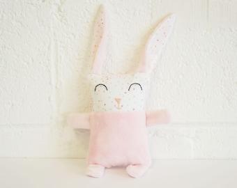 Bunny baby, pink, plush, plush. Baby pink rabbit plush toy.