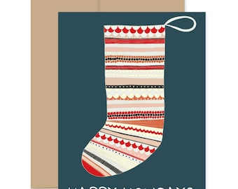 Christmas Stationery, Christmas Stocking Cards, Xmas Greetings, Box Set Xmas Cards, Stocking Greeting Cards, Xmas Novelty Cards