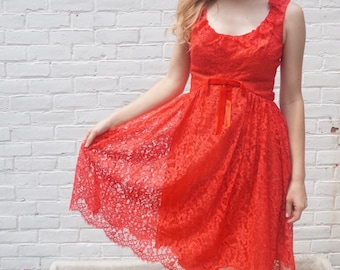 1960s Dress Vintage Formal Red Lace Party