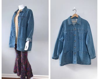 Vintage Denim Chore Coat Minimalist Jean Jacket