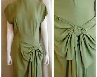 Vintage 1940s Dress Sage Green Rayon Crepe Cocktail Dress Hip Swag Maurice Rentner 38 x 28 x 40