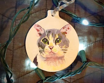 Custom pet portrait - ornament - ceramic