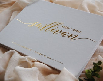 Wedding Guest Book, Wedding Guestbook, Custom Guest Book, Personalized Guest Book, Real Gold Foil Wedding Guest Book, Wedding Photo Book