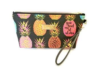 You Had Me At Aloha - Medium Clutch with brass zipper and leather strap - 11x 5 x 2- Ready to ship