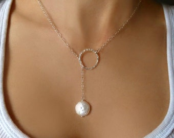 Pearl Lariat Necklace - Freshwater Pearl Necklace  - Modern Pearl Silver Lariat Hoop Necklace - Wedding Bridal Gift - Elegant Jewelry