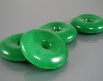 """Pi disc Pendant donut Jade traslucent emerald Green. 35mm 1.37"""" with cord. JD202"""
