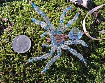 Ornament Suncatcher Wire Wrap Art Blue Crystal Spider