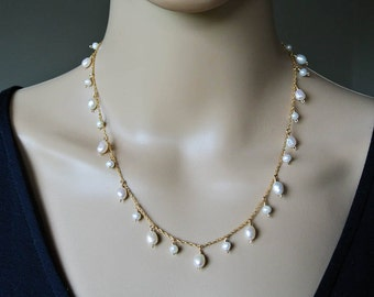 Delicate Gold Freshwater Pearl Necklace - Ivory White Freshwater Pearl 14K Gold Filled Raindrop Necklace - Gold Pearl Chain Necklace