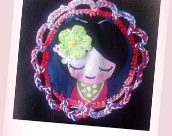 Velvet with beautiful geisha fabric and crochet Kit