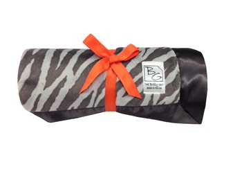 Gray Zebra Stroller Blanket Reverse Orange Minky