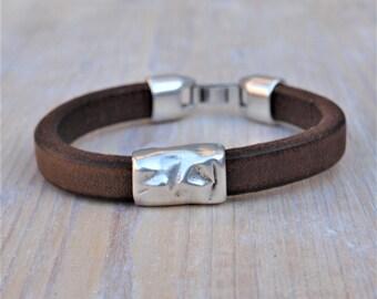 Bracelet for men, thick leather, hammered slider, brown,black,blue leather,