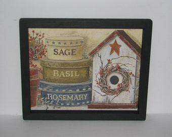 Birdhouse Shaker Boxes Sage Basil Rosemary Herbs 9 inch x 11 inch Primitive Country Wall Decor