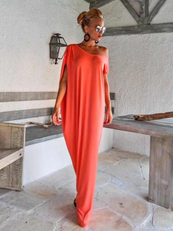 Maxi Dress Kaftan Coral Dress Summer Dress Plus Size