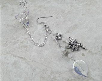 Winter Fairy Chain Ear Cuff Earring, Bajoran Boho Gypsy Ear Jacket, Womens Gift Idea, Fantasy Ear Cuff bridal ear cuff