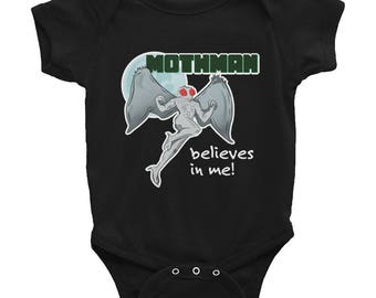 Mothman Point Pleasant and Chicago Funny Cryptid Figure Infant Onesie Bodysuit