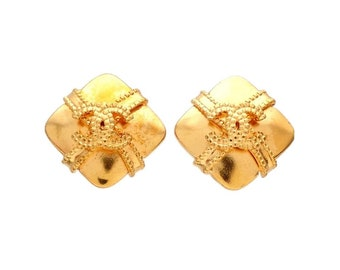 Authentic vintage Chanel earrings gold CC Ribbon Crossed Spuare #ea2030