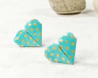 Boucles d'oreilles turquoises | Boucles d'oreilles à pois | Bijou en papier | Bijou en coeur | Origami par Ökibo