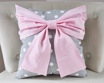 Polka Dot Bow Pillow Cover - Gray White Pink Pillow Case -Bow Decorative Pillow -Gift -Birthday -Christmas Gift -Housewarming -Dorm -Nursery