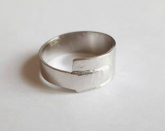 asymmetrical silver ring