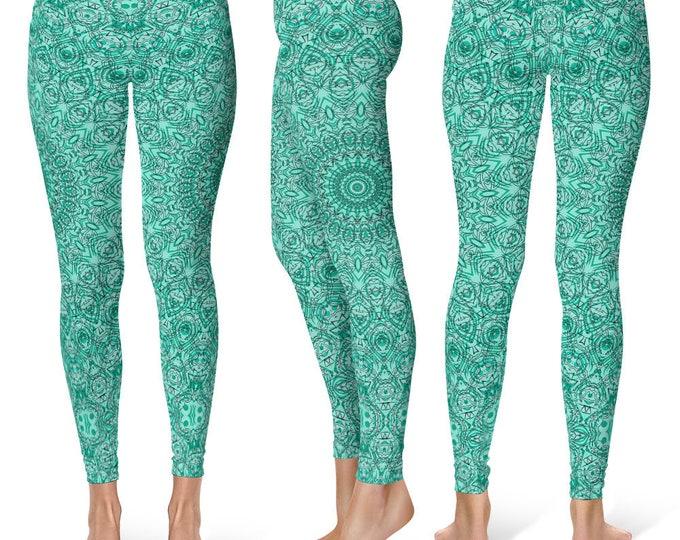 Turquoise Leggings Yoga Pants, Blue Mandala Printed Yoga Tights for Women, Festival Clothing, Burning Man