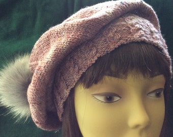 Donegal wool slouchy hat with Pom