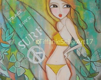 Peace Love SURF original mixed media PRINT