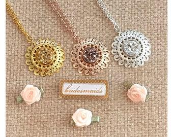 Bridesmaid Gift - Druzy Necklace - Bridesmaid Necklace - Rose Gold Necklace - Bridesmaid Jewelry - Bride Necklace - Wedding Jewelry - Druzy