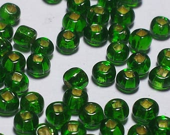 Dark Green Translucent Seed Beads 50 Grams Size 12