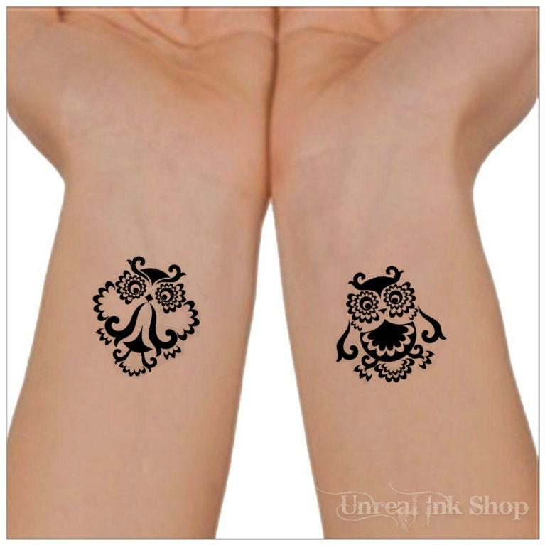 Temporary Tattoo Owl 2 Wrist Tattoos Foot Tattoo