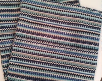 """Indigo Blue Stripe Pillow Cover,22"""" Pillow Covers with Piping,1 Neck Pillow Knife Edge,Your Fabric Selection.Made to Order.You Pay Shipping."""