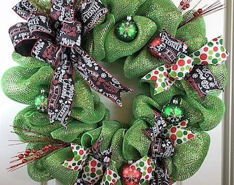 Large Christmas Wreath, Winter Wreath, Mesh Christmas Wreath, Holiday Wreaths for Sale, Christmas Gift, Mesh Wreaths for Sale, Xmas Wreath